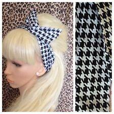 Black white houndstooth check courbé mod rétro fil câblé cheveux tête bande vintage
