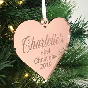 Personalised Christmas Tree Decorations - heart