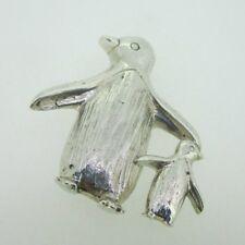 Mom Penguin Pin Brooch Sterling Silver Baby Penguin &