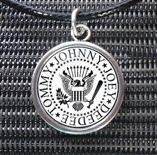 Ramones Johnny Joey Tommy Deedee Charm Pendant Black Leather -ette Necklace