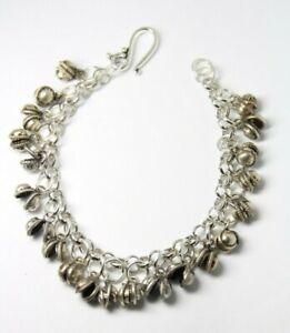 "Belly Dance Charm Chiming Bracelet Dancers Clapper less Bell Silver Brass 6"""