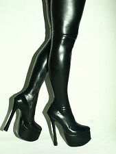 "BLACK LATEX RUBBER BALLET HIGH BOOTS SIZE 6-16 HEELS-8,1""- 20CM fs889"