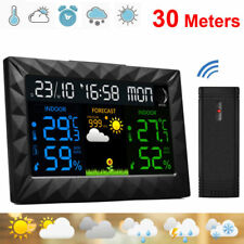 Wireless LED Wetterstation Digital Funk Wecker Außensensor Thermometer Uhr DHL