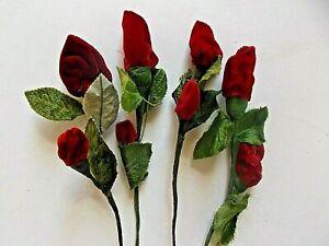4 Vintage Dark  Red Velvet Rose Bud stems