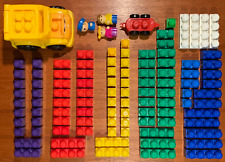 Jumbo MEGA BLOKS Sonny School Bus + 100 Multi-Color Blocks + People + Bag = FUN!