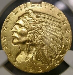 1913 S INDIAN HEAD GOLD HALF EAGLE $5 GORGEOUS SCARCE DATE NGC UNC MS 63+ DETAIL