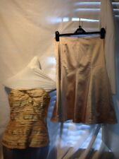 Coast Bustier Skirt Beige Cotton & Silk Ladies Suit Uk 10/12