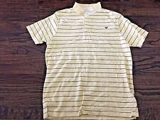 Men's American Eagle Pale Yellow & Brown Striped Short Sleeve Polo Shirt, Size S