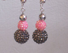 Big Pink/Black Disco Bead Clip-on Earrings - Transvestite - Fashion Jools