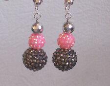 Big Pink/Black Disco Bead Clip-on Earrings - Transvestite - Fashion Jools