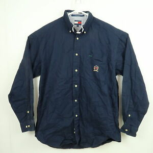 VINTAGE Tommy Hilfiger Mens Shirt Size XL Navy Blue Long Sleeve Button-Down 90s
