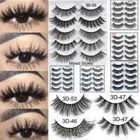 5Pairs 3D Faux Mink Hair False Eyelashes Extension Wispy Fluffy Think Lashes UT