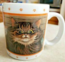 Lowell Herrero Cat Mug Vintage 1988 Fluffy Orange, Brown, White, & Black Japan