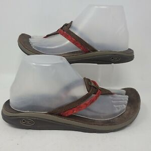 Chaco Womens Sway Flip Flop Thong Sandals Red Brown Leather Size 9