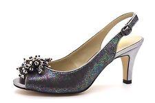 Lotus Ladies UK 4 EU 37 Pewter Sparkle Slingback Mid Heel Peep Toe Sandals Shoes