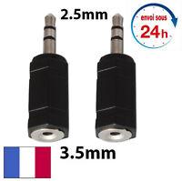 Lot 2 Adaptateur Audio Stéréo prise Mini Jack 2,5mm Mâle vers 3,5mm Femelle NEUF