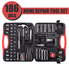 Professional 186 Pieces Metric Carbon Steel Home Repair Tool Combo New