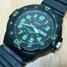Casio MRW-200H Men 100m Diver Black Analog Quartz Watch Hour~Day Date~New Batter