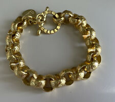 """1AR by UnoAerre 18kt Gold Plated Etched Link Chain BRACELET Made in ITALY 8"""""""