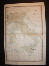 1886 Italy Sicily Alden's Atlas Map 14 inch x 23 inch Color M43