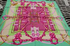 "BNIB CARRE 90 CM TWILL 100% SOIE SILK SCARF ""GRAND MANEGE"" VERT/SABLE/FUCHSIA"