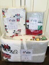 Pottery Barn Kid Disney Mickey Mouse Holiday Quilt Twin Sham Sheet Set Christmas