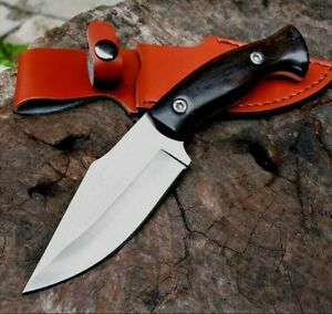 Clip Point Knife Fixed Blade Hunting Wild Survival Combat Tactical Wood Handle S