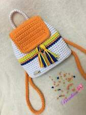 Backpack bag shoulders back travel handmade crochet knitted fashion orange white