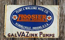 1930s Hoosier Water Service Galvazink Pumps Embossed Tin Sign Kedallville IN