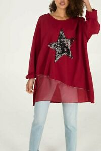 New Ladies Lagenlook Sequin Star Layer Loose tunic top comfy casual one size