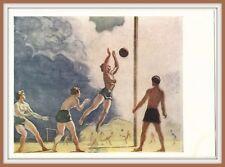 Beach Volleyball SOVIET SPORT Semi nude Girl Man Woman Russian Art Postcard vtg