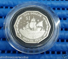 1990 Belize $1 One Dollar Sterling Silver Piedfort Proof Coin