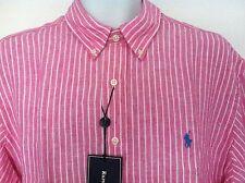 Polo Ralph Lauren Pink & White Stripe SS 100% Linen Size XL NWT