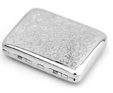 Men Women Thin Slim Silver Polish Flower Engrave Wiredrawing Cigarette Case Box