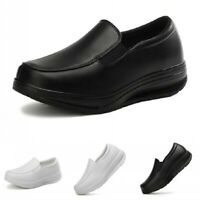 Womens Nurse Work Shoes Wedge Heel Pumps Loafers Nursing Slip On Casual 35/42 B
