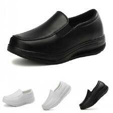 Womens Nurse Work Shoes Wedge Heel Pumps Loafers Nursing Slip On Casual 35/42 B