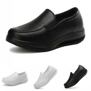 Womens Nurse Work Shoes Wedge Heel Pumps Loafers Nursing Slip On Casual 35/41 B