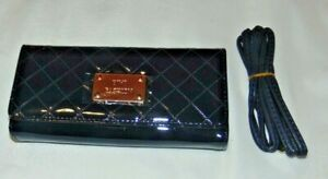 NWT Womens BE LEATHER Navy Blue PATENT Tri-Fold CLUTCH Wallet Purse w/Strap