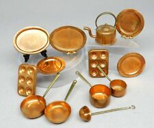 Vintage Country Treasures Copper Pots Teapot Platter Dollhouse Miniature 1:12