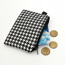 Small Zipper Wallet Coin Purse Handmade Tiny Cosmetic Bag - black houndstooth