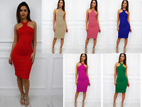 Glamzam New Womens Ladies Racer Back Cut Out Sleeveless Midi Bodycon Party Dress