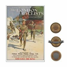 """13""""×19"""" Historic Poster Reprint: The London Cyclists! 1915 Wwi England Bicycle"""