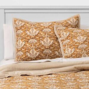 Threshold Print Velvet Warm Gold Sham | STANDARD | 26x20 New