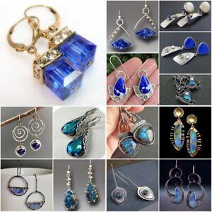 Women 925 Silver Blue Sapphire Dangle Drop Earrings Ear Hook Wedding Party