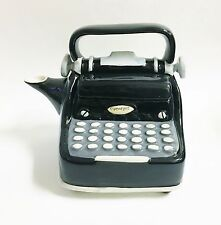 NEW BLUE SKY BLACK+GRAY+WHITE CERAMIC TYPEWRITER TEAPOT,TEA,COFFEE POT