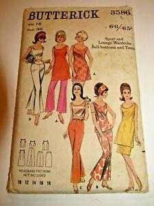 Vintage 1960s Mini Dress Flare Pants Crop Top Butterick Pattern