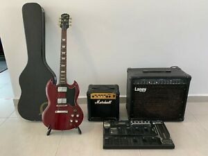Epiphone SG standard guitar,Line6 Xt pro,Lenny,Marshall Amp and bunch of stuff