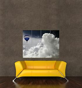 POSTER PRINT GIANT TRAVEL TRANSPORT HOT AIR BALLOON FLOATING CLOUDS PAMP029