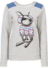 Sweatshirt  mit weihnachtlichem Hasen-Druck Gr.32/34