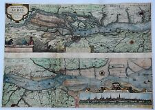 Original Hand Colored Engraved Map of the HAMBURG region by Jannsonius in 1650